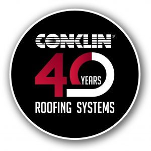 40 Years of commercial roofing systems. Conklin Logo.