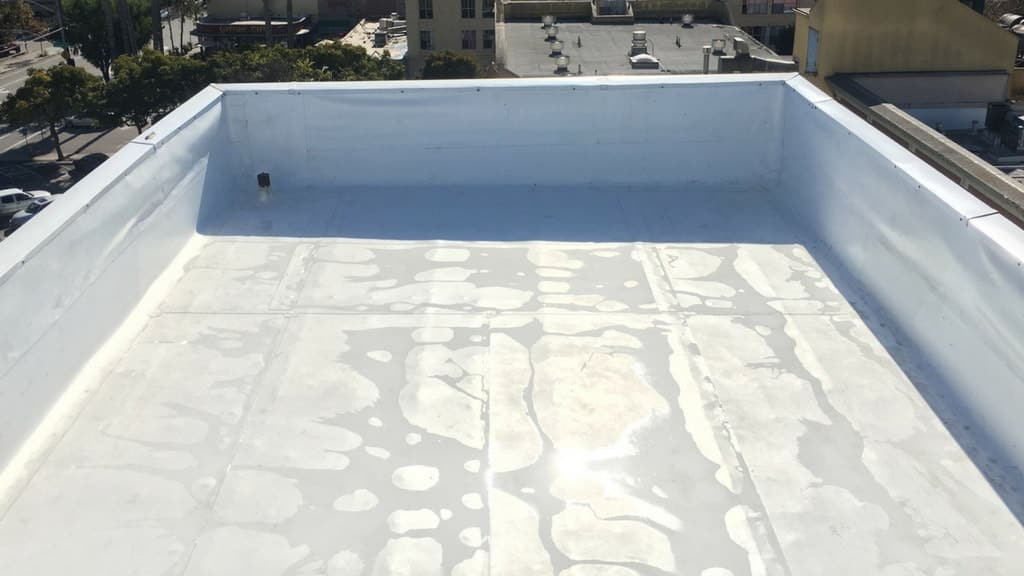 Single-Ply Roof Membrane Installed.